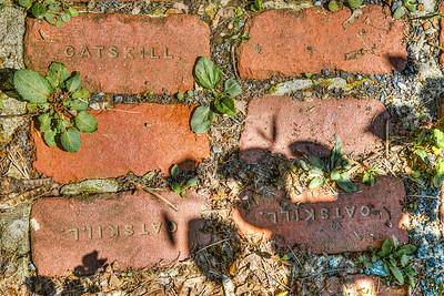Catskill bricks outside McEntee Wine Cave, Kingston, New York, USA