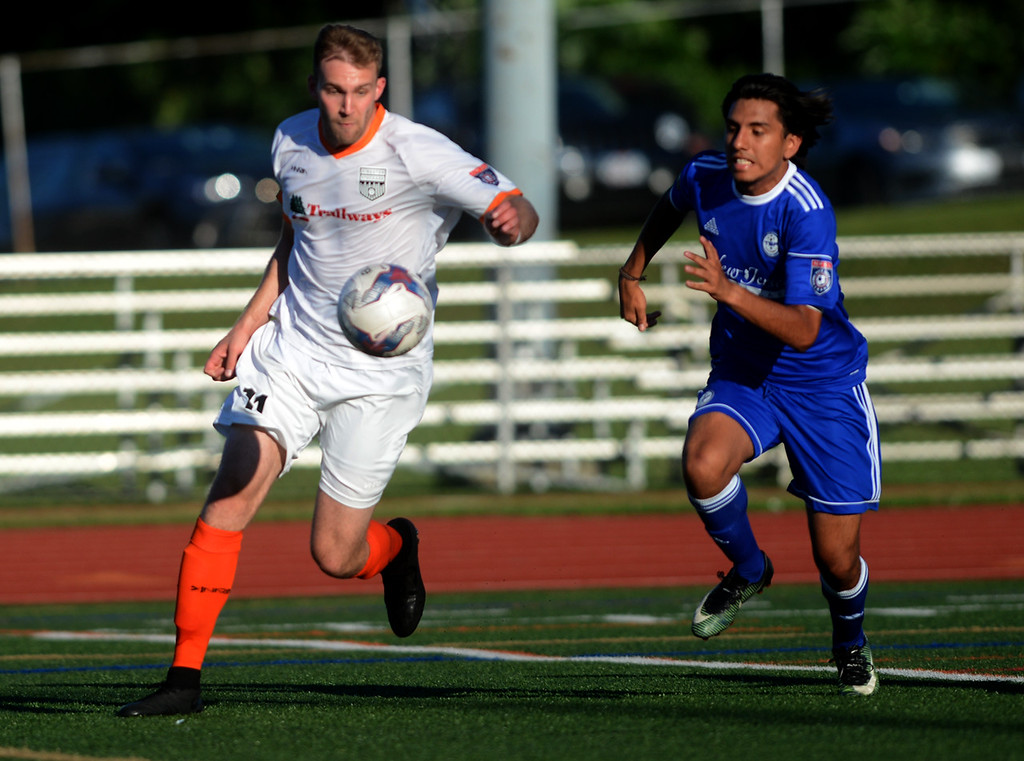 . Eric Fortier of Stockade FC goes for the ball during a July 3 game against TSF. Stockade FC. Later in the month, Stockade FC captured the National Premier Soccer League Atlantic White Conference title in their first-ever postseason match with a 2-1 overtime victory over Hartford City FC at Dietz Stadium in Kingston.  Tania Barricklo-Daily Freeman