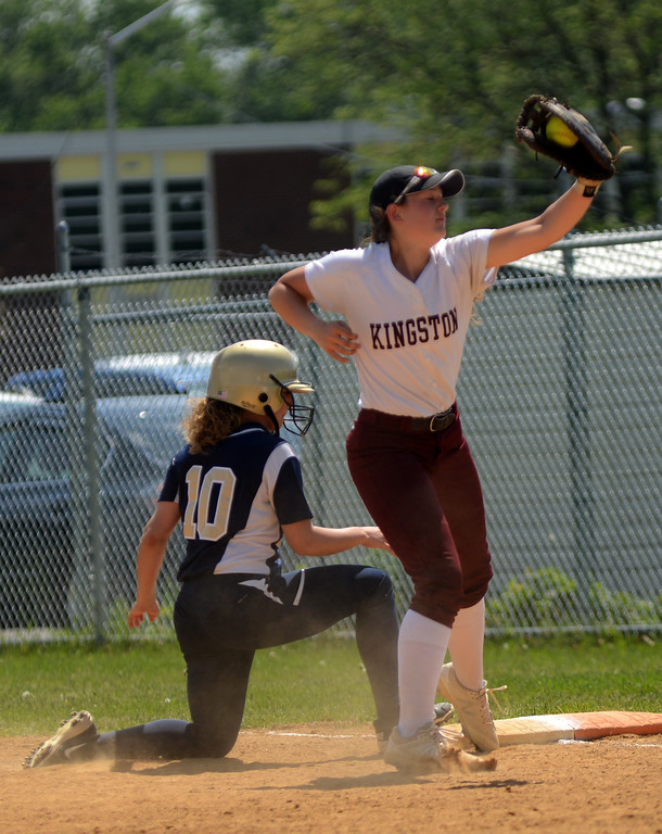 . Tania Barricklo-Daily Freeman                      Kingston first baseman Kate Schrowang Newburg Danielle Scarano makes it back safely