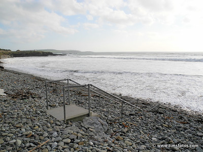 Steps inundated by beach stones