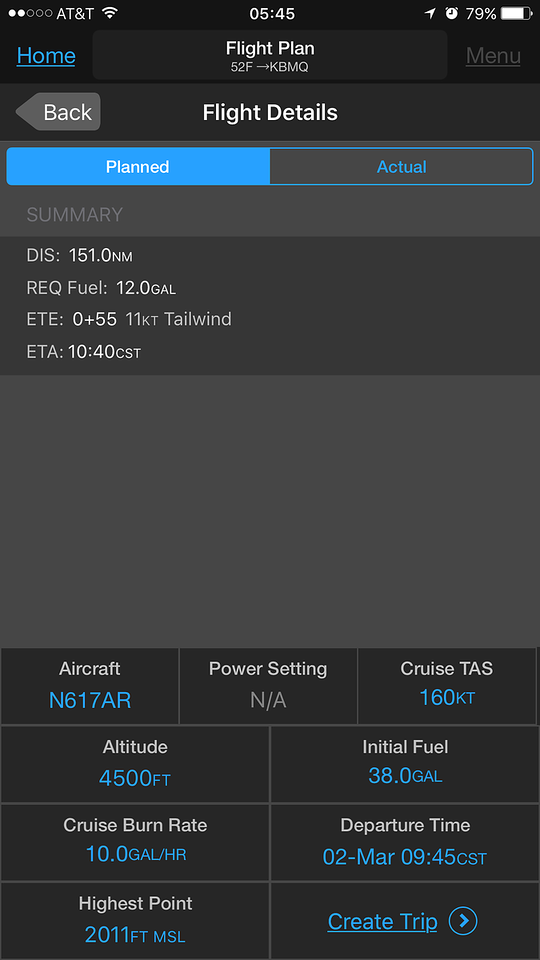 Looks like 4,500' will give me a 11kt tailwind.  This screenshot from Garmin Pilot on my phone.