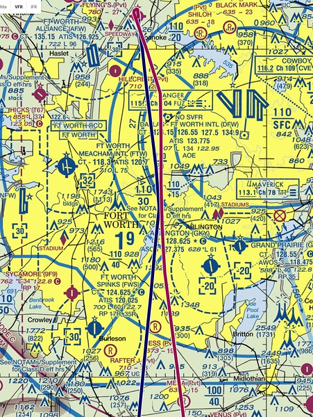 """March 25, 2017. I grabbed this off the  <a href=""""http://www.AirPRS.com"""">http://www.AirPRS.com</a> website after I got back home to show my route out of the DFW airspace. We usually head to the Ranger VOR at 1900 feet and then you can gradually start to climb as you get further south."""