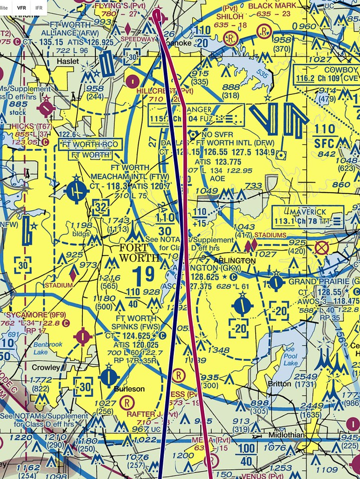 "March 25, 2017. I grabbed this off the  <a href=""http://www.AirPRS.com"">http://www.AirPRS.com</a> website after I got back home to show my route out of the DFW airspace. We usually head to the Ranger VOR at 1900 feet and then you can gradually start to climb as you get further south."