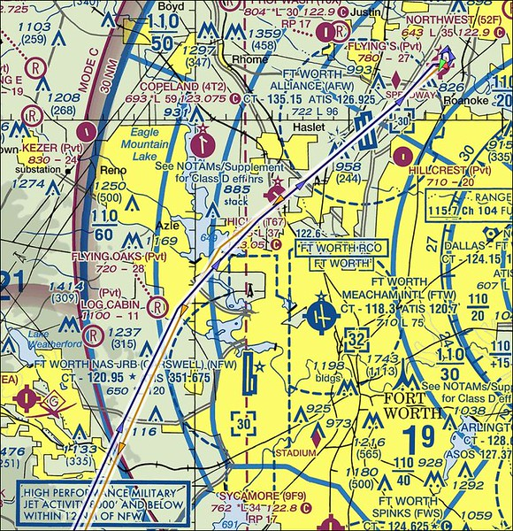 """The route out of DFW class B (yellow route out - blue route back).  Talked with KAFW tower to go through their airspace.  Image courtesy  <a href=""""http://www.AirPRS.com"""">http://www.AirPRS.com</a> ."""