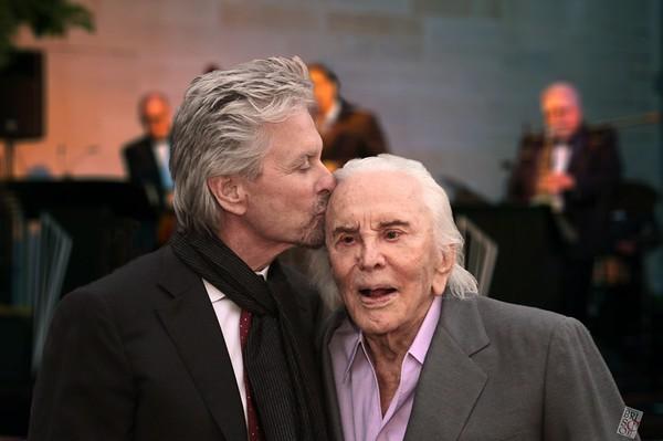 Michael Douglas and his dad, Kirk Douglas 60 wedding anniversary.