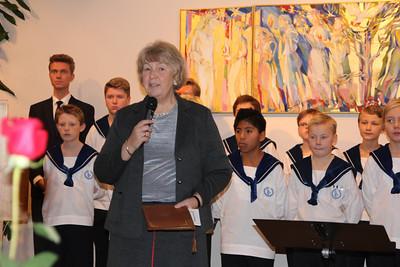 """Virksomhetsleder Inger Grødum ønsket velkommen til festen som markerer 50 år med """"gode hverdager"""" på St. Hanshaugen Eldresenter."""