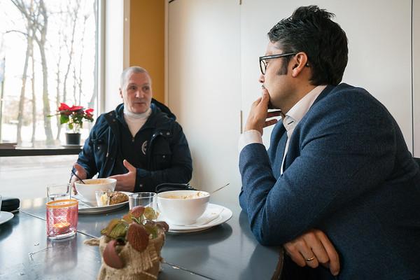 Møte Adelheid, Tom Ramstad og Daniel Siraj på Kafe Saba 05.12.17