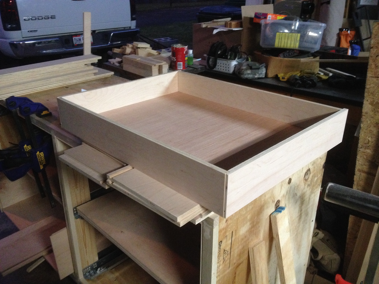 "One of the drawers. Made from 1/2"" plywood."
