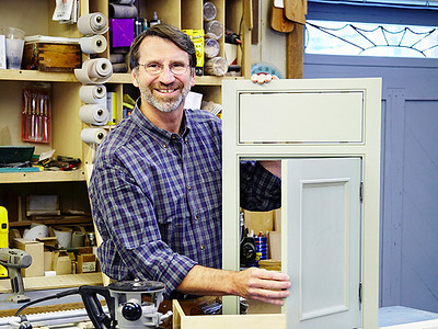 "I came across an episode ""series"" where Norm teaches the basics of cabinet making, and ultimately remodels a kitchen including making all new cabinets.<br /> He explains several different styles of face-frames, doors, and drawers, deciding on the style depicted here as the final design.<br /> It has a beaded face-frame, with inset flat panel doors. <br /> Norm always make everything seem easy and that ""you"" (he always talks directly to his viewers through the camera, referring to the watcher as ""you"") can make just about anything he does.<br /> So, why not try to replicate this style of kitchen."