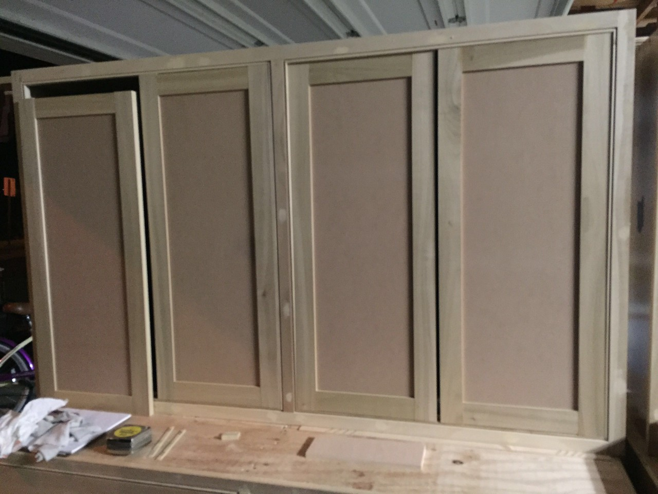 05/05/15<br /> Doors glued up & a test fit in cabinets.