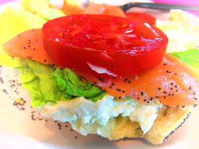 Bagel, Nova and Cream cheese sandwich
