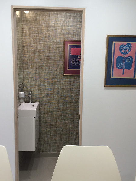 Our little bathroom. It has a pocket door which saves so much space.