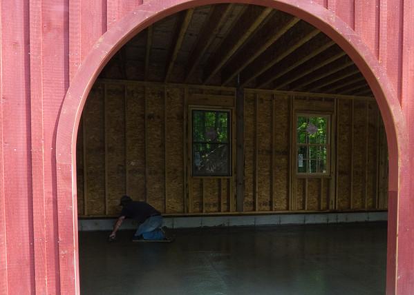 Concrete floor poured in barn