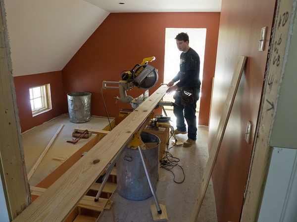 Red Pine flooring cut to fit