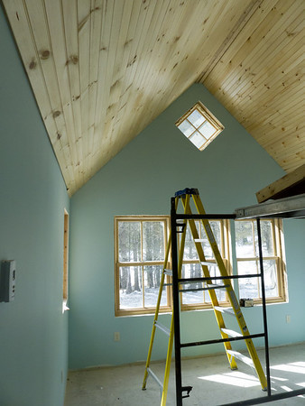 Master BR ceiling beaded white pine, pre-finished with clear sealer