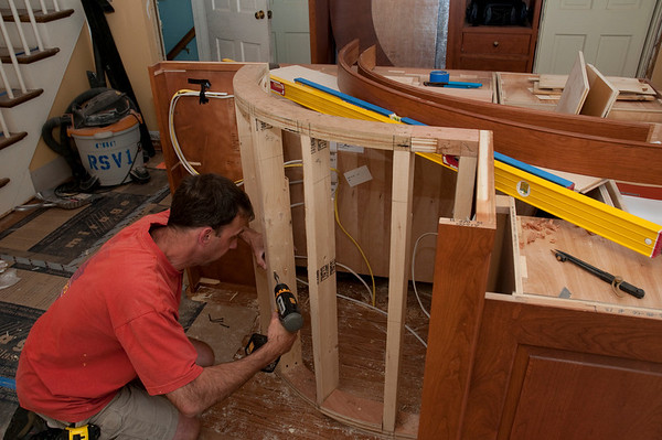 Framing the curved island half-wall