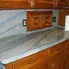 Azul Imperial Kitchen Tops with Full Height Splash and Stone Outlet Covers by Schlitzberger Stone Designs
