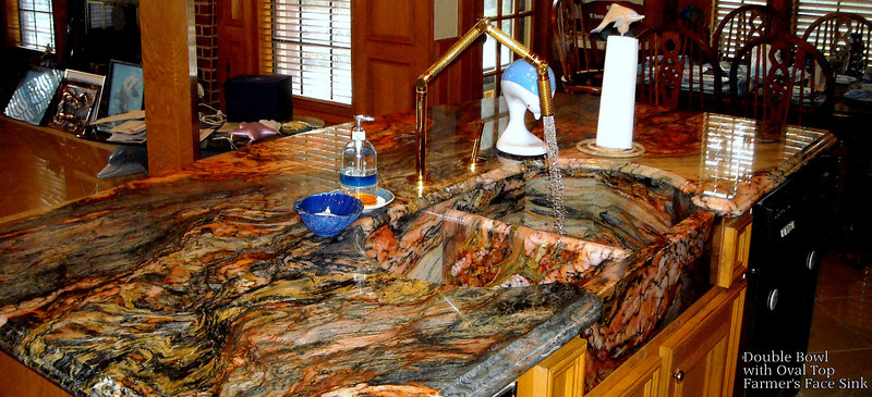 Double Bowl Stone Sink and Island Top in Blue Fusion by Schlitzberger Stone Desgins