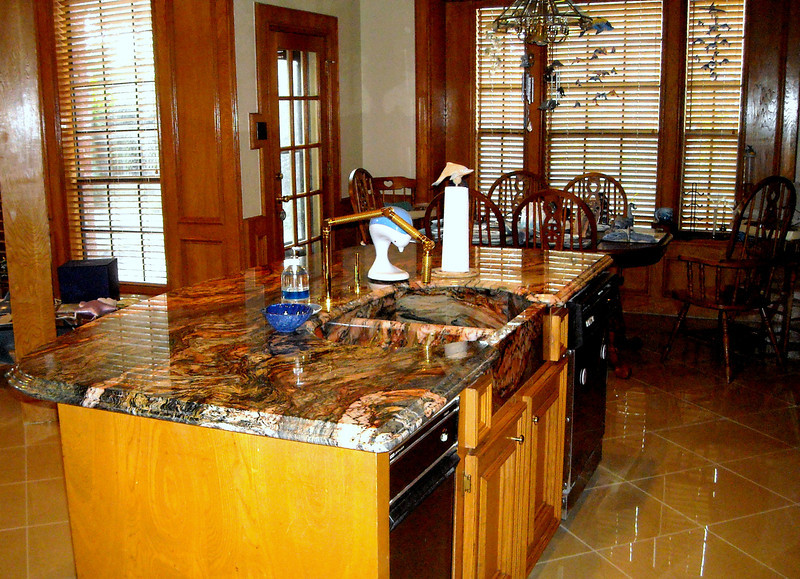 Kitchen Island Top in Blue Fusion by Schlitzberger Stone Designs