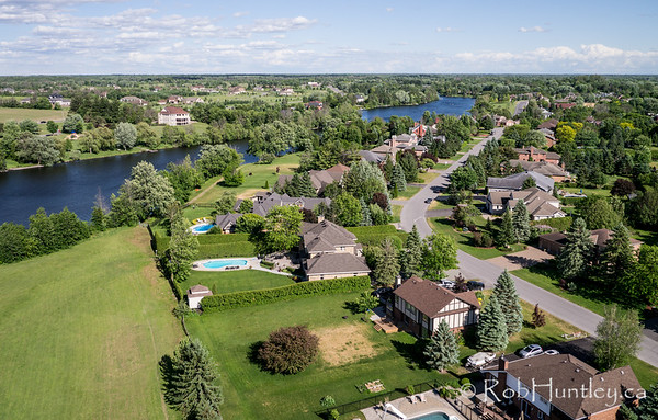 Manotick on the Rideau River. Aerial photography.
