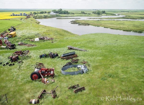 Aerial view. Retired equipment put out to pasture.