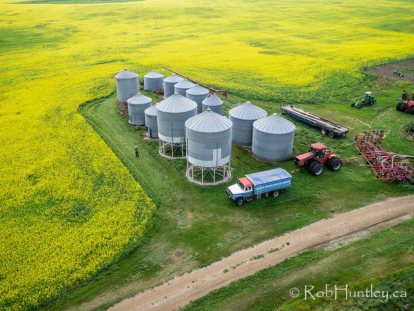 Farm furniture - silos, trucks and tractors.