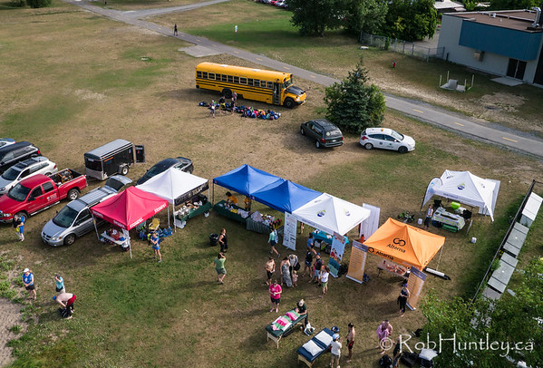 Food and sponsor tents. Ottawa Riverkeeper 4K Swim. Kite aerial photograph.