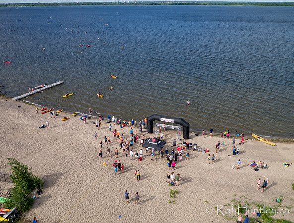 The finish line. Ottawa Riverkeeper 4K Swim. Kite aerial photograph.