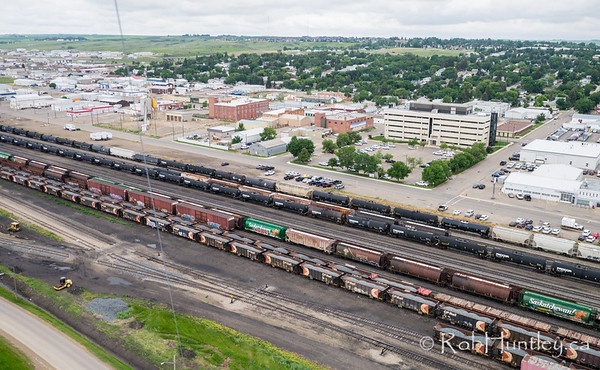 Train yards at Swift Current, Saskatchewan. Aerial photograph.