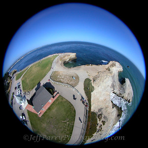 Kite Aerial Photograph of Point Santa Cruz Lighthouse by Jeffrey Daniel Parry www.SeaSurfnBird.com
