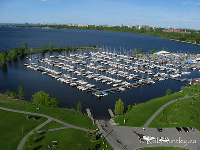 Aerial view of sailboats at Nepean Sailing Club, Ottawa River.