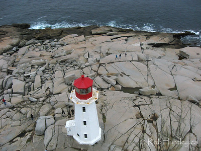 Aerial photograph of the lighthouse at Peggy's Cove, Nova Scotia, Canada. This picture was taken from a camera rig suspended below a kite (Kite Aerial Photography - KAP). © Rob Huntley