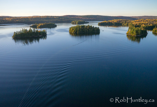 Islands on Big Cedar Lake, Quebec.  Aerial photography.