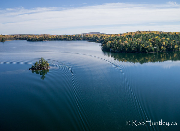 Island in Big Cedar Lake.  Aerial photography.
