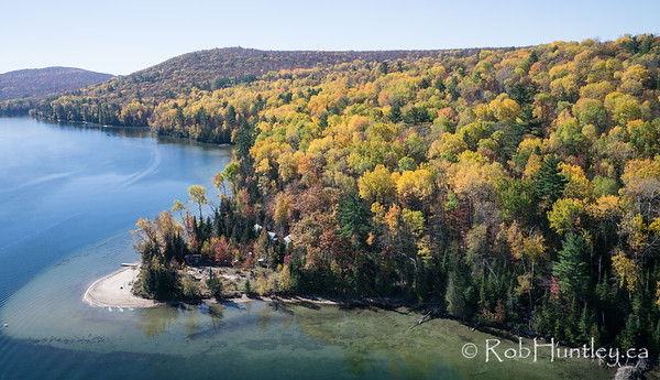 Autumn shoreline on Big Cedar Lake, Quebec. Aerial photography.  Aerial photography.