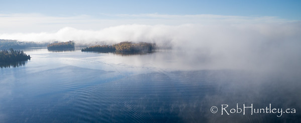 Islands in the Fog, Big Cedar Lake.  Aerial photography.