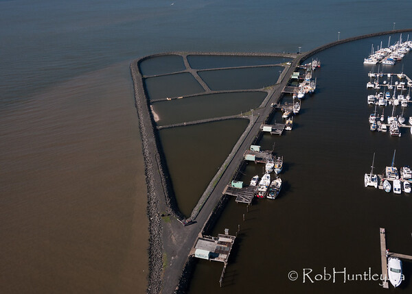 Breakwater and channels - Hervey Bay, Queensland, Australia. Aerial photography.