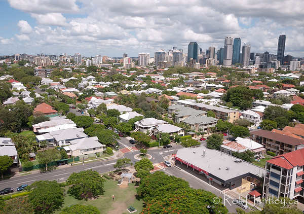 Brisbane Skyline from New Farm Park - aerial photography.