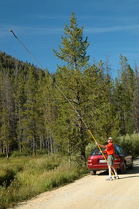 Pole aerial photography (PAP) in action. PokyTom and I spent a couple of days in the Sawtooth National Recreation Area. License this photo on Getty Images © Rob Huntley