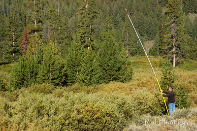 PokyTom doing pole aerial photography (PAP)  in the Sawtooth National Recreation Area. © Rob Huntley