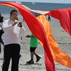 Revere, Ma. 5-21-17. Matthew Soohoo gets ready to launch his flo form kite at the Revere Beach Kite Festival.