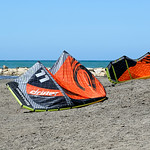 Kiteboarding near Punta del Raset beach in Denia, Spain.