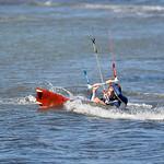Kiteboarding near Punta del Raset beach in Denia, Spain.