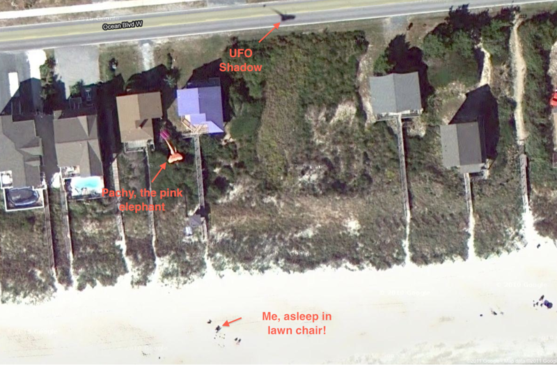Yikes, the Google satellite got a picture of me flying my big pink elephant kite!  Does this make me an intergalactic superstar?