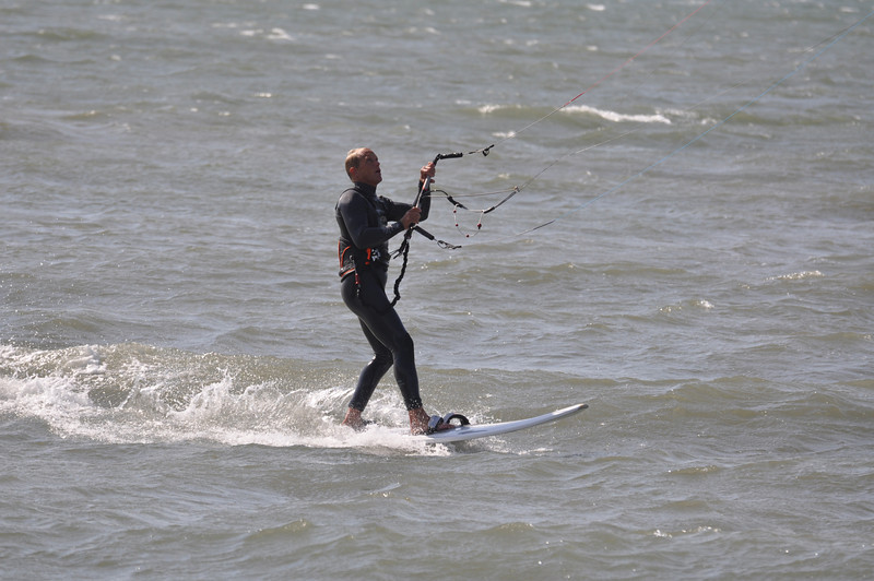 Kitesurfing is sailing. Chip checking his tell tales