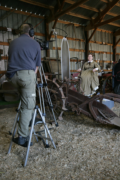 Jane Roth Williams, Kitsap County Historical Museum curator, sewed her own period costume and wore it at the county fair.  The costume included the corset, the petticoat and all the trimmings!  Chris Davenport, a professional filmaker, volunteered his time to film Kitsap Oral Histories.