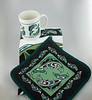 Wild Coast Mug, Hot Pad and Tea Cloth. Magenta First Nations Collection. Original Native Motif by Coast Salish Artist Anthony Joseph.