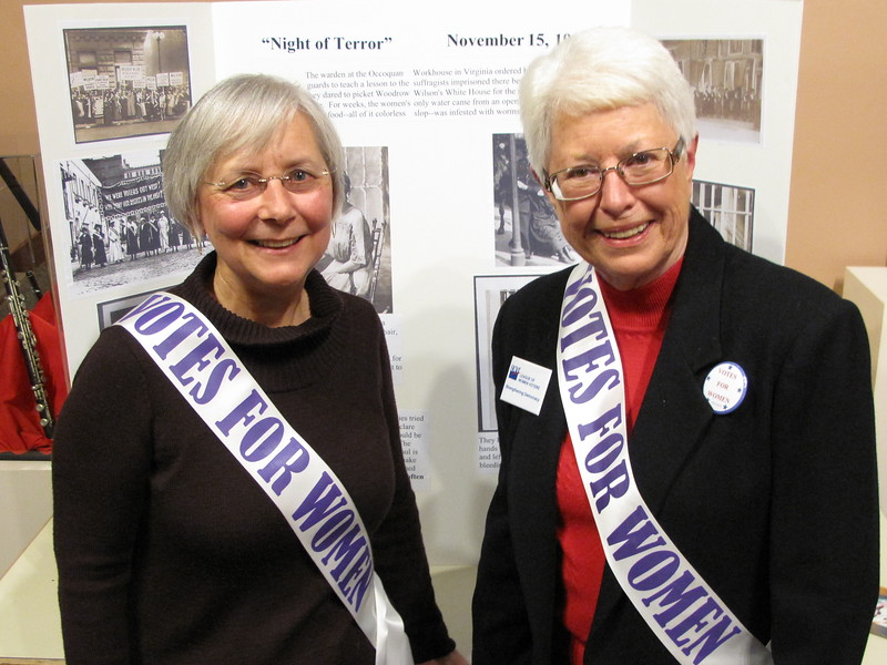 Charlotte Garrido, County Commissioner, and Catherine Ahl, Presdient of Kitsap League of Women Voters