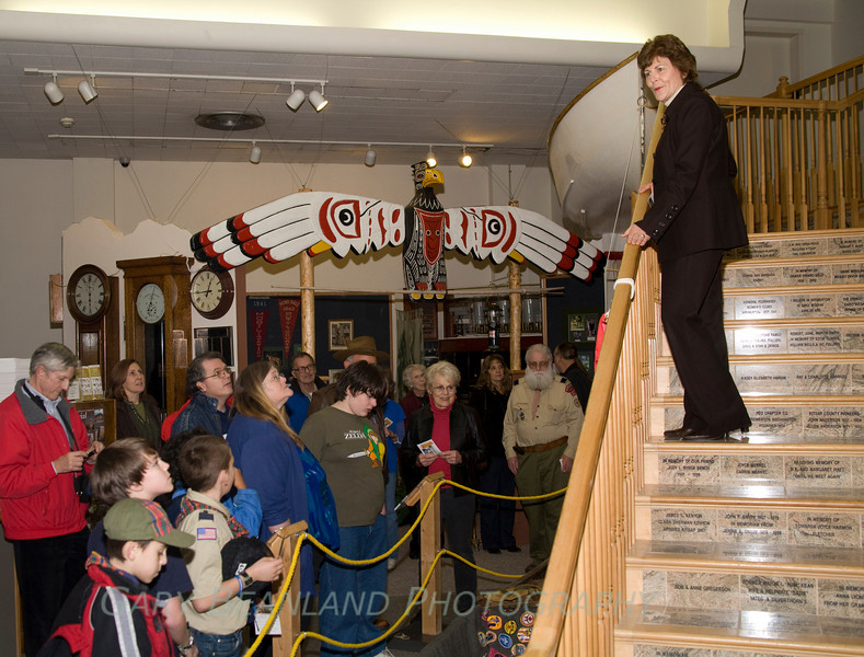 Mayor Patty Lent welcomes scouts and museum attendees.  ZL2A8258