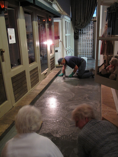 "Gary Beanland, Anita ""Get 'er done"" Williams and Karen ""I know how to scrub floors"" Flynn hard at work."